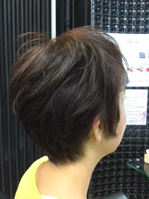 抗がん剤治療後の再生毛にカラーをしてみました。